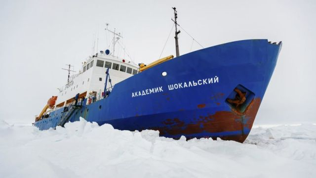 Dec. 27, 2013: In this image provided by Australasian Antarctic Expedition/Footloose Fotography the Russian ship MV Akademik Shokalskiy is trapped in thick Antarctic ice 1,500 nautical miles south of Hobart, Australia.AP
